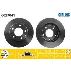 6027041 GIR 6027041 TARCZA HAMULCOWA 258X24 V 5-OTW MAZDA 626/MX6/XEDOS 91-02 SZT GIRLING TARCZE GIRLING [892352]...