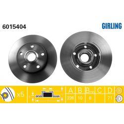 6015404 GIR 6015404 TARCZA HAMULCOWA 226X10 P 5-OTW VW GOLF III/PASSAT/VENTO 91-99 SZT GIRLING TARCZE GIRLING [893003]...
