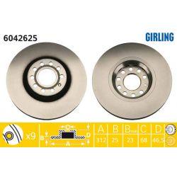 6042625 GIR 6042625 TARCZA HAMULCOWA 312X25 V 5-OTW AUDI A4/A6/SKODA SUPERB/VW PASSAT SZT GIRLING TARCZE GIRLING [893012]...