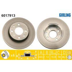 6017913 GIR 6017913 TARCZA HAMULCOWA 240X12 P 4-OTW FIAT FIORINO/PANDA/SIENA/UNO 86-01 SZT GIRLING TARCZE GIRLING [893177]...