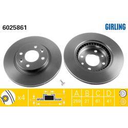 6025861 GIR 6025861 TARCZA HAMULCOWA 259X21 V 4-OTW RENAULT 19/CLIO/MEGANE/TWINGO SZT GIRLING TARCZE GIRLING [893243]...