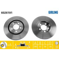 6026191 GIR 6026191 TARCZA HAMULCOWA 280X22 V 5-OTW VW GOLF III/PASSAT/VENTO 91-99 SZT GIRLING TARCZE GIRLING [893277]...