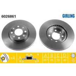 6026861 GIR 6026861 TARCZA HAMULCOWA 257X20 V 4-OTW FIAT DOBLO/MAREA/PALIO/PUNTO/TEMPRA SZT GIRLING TARCZE GIRLING [893314]...