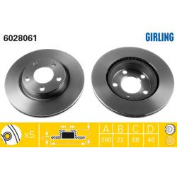 6028061 GIR 6028061 TARCZA HAMULCOWA 280X22 V 5-OTW AUDI A4 94-04/VW PASSAT 96-00 SZT GIRLING TARCZE GIRLING [893413]...