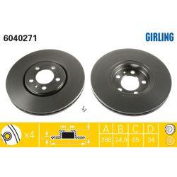 6040271 GIR 6040271 TARCZA HAMULCOWA 288X25 V 5-OTW AUDI A3/SKODA FABIA/OCTAVIA/VW GOLF IV SZT GIRLING TARCZE GIRLING [893467]...