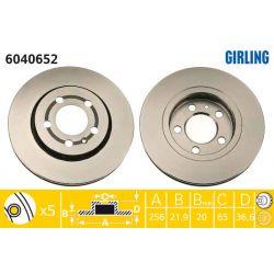 6040652 GIR 6040652 TARCZA HAMULCOWA 256X22 V 5-OTW AUDI A3/VW BORA/GOLF IV 1.8/2.0 SZT GIRLING TARCZE GIRLING [893520]...