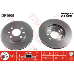 DF1609 TRW DF1609 TARCZA HAMULCOWA 236X20 V 4-OTW OPEL ASTRA F/KADETT E/VECTRA A SZT TRW TARCZE [850146]...