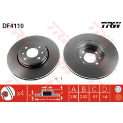 DF4110 TRW DF4110 TARCZA HAMULCOWA 280X24 V 4-OTW RENAULT CLIO/KANGOO/LAGUNA/MEGANE 99 SZT TRW TARCZE [854657]...