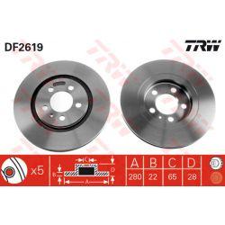 DF2619 TRW DF2619 TARCZA HAMULCOWA 280X22 V 5-OTW VW GOLF III/PASSAT/VENTO 91-99 SZT TRW TARCZE [854758]...