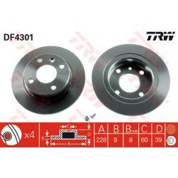 DF4301 TRW DF4301 TARCZA HAMULCOWA 228X9 P 4-OTW VOLVO 440/460/480 88-96 ABS TYL SZT TRW TARCZE [863544]...