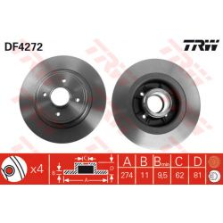 DF4272 TRW DF4272 TARCZA HAMULCOWA 274X11 P 4-OTW RENAULT MEGANE SCENIC 1.6/1.8/2.0 99-03 TYL SZT TRW TARCZE [873918]...