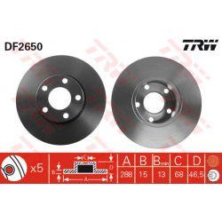 DF2650 TRW DF2650 TARCZA HAMULCOWA 288X15 P 5-OTW AUDI A4/A6/100 90-00 SZT TRW TARCZE [875661]...