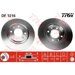 DF1216 TRW DF1216 TARCZA HAMULCOWA 266X10 P 4-OTW CITROEN BX/PEUGEOT 305/405 SZT TRW TARCZE [875757]...