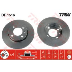 DF1516 TRW DF1516 TARCZA HAMULCOWA 239X12 P 4-OTW AUDI 80/SEAT IBIZA/VW GOLF/PASSAT 72-99 SZT TRW TARCZE [875759]...