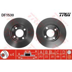 DF1530 TRW DF1530 TARCZA HAMULCOWA 257X22 V 4-OTW AUDI 80/90/100 87-91 SZT TRW TARCZE [875761]...