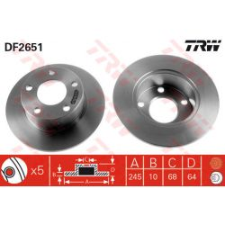 DF2651 TRW DF2651 TARCZA HAMULCOWA 245X10 P 5-OTW AUDI 100/A6/SKODA SUPERB/VW PASSAT 96-99 SZT TRW TARCZE [875829]...