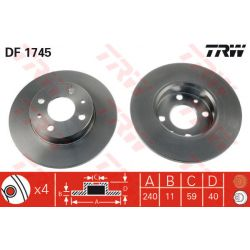 DF1745 TRW DF1745 TARCZA HAMULCOWA FIAT CNQ/SEICENTO 240X11 P 4-OTW FIAT CQN/SEIC/PUNT/TIPO/PANDA 03 PRZOD SZT TRW TARCZE [875832]...