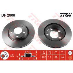 DF2806 TRW DF2806 TARCZA HAMULCOWA 280X22 V 5-OTW AUDI A4 94-04/VW PASSAT 96-00 SZT TRW TARCZE [877719]...