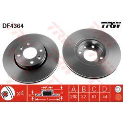 DF4364 TRW DF4364 TARCZA HAMULCOWA 260X22 V 4-OTW NISSAN MICRA K12/RENAULT CLIO/MEGANE 03 SZT TRW TARCZE [880549]...