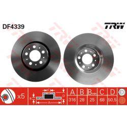 DF4339 TRW DF4339 TARCZA HAMULCOWA 316X28 V 5-OTW VOLVO XC90 2.5 2.9 2.4D 02- SZT TRW TARCZE [887647]...