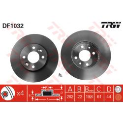 DF1032 TRW DF1032 TARCZA HAMULCOWA 262X22 V 4-OTW RENAULT LAGUNA/MEGANE/SAFRANE 93-01 SZT TRW TARCZE [890641]...