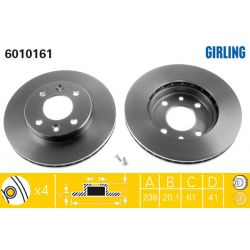 6010161 GIR 6010161 TARCZA HAMULCOWA 238X20 V 4-OTW RENAULT 5/19/21/CLIO/KANGOO/MEGANE SZT GIRLING TARCZE GIRLING [893686]...