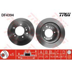 DF4394 TRW DF4394 TARCZA HAMULCOWA 315X20 V 5-OTW KIA SORENTO 2,4/2,5/3,5 2002 SZT TRW TARCZE [898901]...