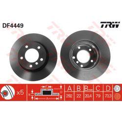 DF4449 TRW DF4449 TARCZA HAMULCOWA 292X22 V 5-OTW BMW 1 BMW 3 1.8-2.2 04- PRZOD SZT TRW TARCZE [912417]...