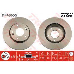 DF4865S TRW DF4865S TARCZA HAMULCOWA 280X26 V 5-OTW KIA CEED 06 VENGA 10 HYUNDAI I30 PRZOD SZT TRW TARCZE [914923]...