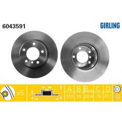 6043591 GIR 6043591 TARCZA HAMULCOWA 310X24 V 5-OTW BMW 5 03- PRZOD SZT GIRLING TARCZE GIRLING [927672]...