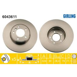 6043611 GIR 6043611 TARCZA HAMULCOWA 324X30 V 5-OTW BMW 5/6 03- PRZOD SZT GIRLING TARCZE GIRLING [927673]...
