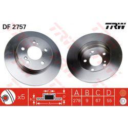 DF2757 TRW DF2757 TARCZA HAMULCOWA 278X9 P 5-OTW MERCEDES W-124/W-210 E-KLASA 85-96 SZT TRW TARCZE [944364]...
