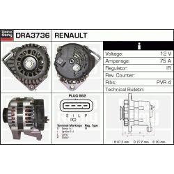 DRA3736N DR DRA3736N ALTERNATOR [NOWY] RENAULT CLIO I/II/KANGOO/TWINGO 1.2 96 SZT REMY ALTERNATORY I ROZRUSZNIKI REMY [1068649]...