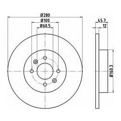 92181203 TX 92181203 TARCZA HAMULCOWA 280X12 P 4-OTW RENAULT KANGOO SZT TEXTAR TARCZE TEXTAR [906586]...
