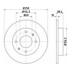 92134903 TX 92134903 TARCZA HAMULCOWA 250X10 P 4-OTW MITSUBISHI COLT/SMART FORFOUR SZT TEXTAR TARCZE (PM) (GR) TEXTAR [1110647]...
