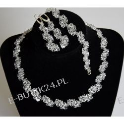 UNIVIA Biżuteria Ślubna KOMPLET kryształki CRYSTAL