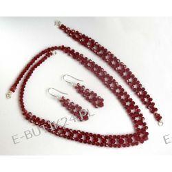 UNIVIA* Komplet Ślubny Wieczorowy kryształki siam Komplety biżuterii