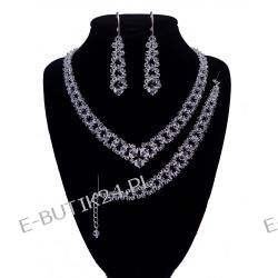 UNIVIA* ŚLUB piękny KOMPLET KRYSTALICZNY crystal Biżuteria ślubna
