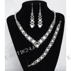 UNIVIA* Komplet biżuterii Ślubnej BIAŁY AGAT kule Biżuteria ślubna