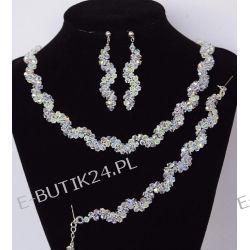 UNIVIA* Komplet biżuterii Ślubnej kryształki AB Biżuteria ślubna