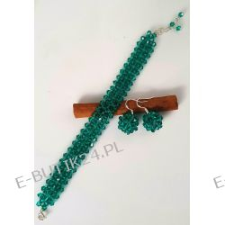 UNIVIA* Piękny KOMPLET kryształ bicone Emerald Komplety