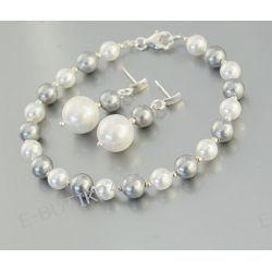 UNIVIA* Komplet Perły Swarovski Seashell Srebro925