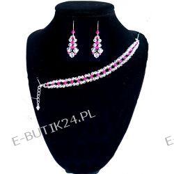 UNIVIA* Komplet kryształki SWAROVSKI Fuchsia Biżuteria ślubna