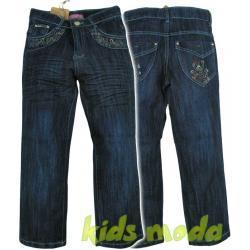 Jeansy dziewczęce zdobione haftem r.140