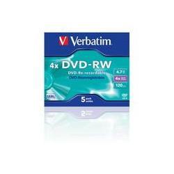 PŁYTY DVD-RW VERBATIM 4,7 GB 4X SLIM 5 SZT.