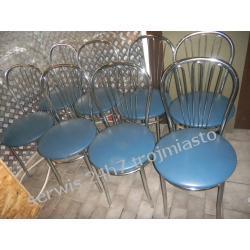 krzesla chromowane niebieskie siedzisko