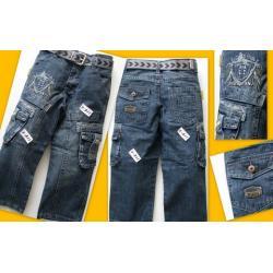 Spodnie jeansowe z paskiem 122/128 NOWE