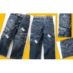 Spodnie jeansowe z paskiem 128/134 NOWE