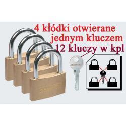 4 kłódki otwierane jednym kluczem mosiężne 12 kluczy