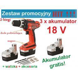 Wiertarko-wkrętarka 18V 2 biegi 3 akumulatory HIT !!!
